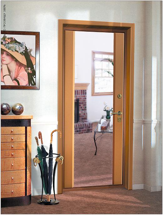 входные двери с одной стороны с зеркалом